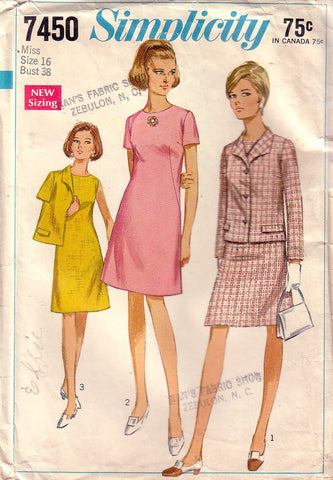 Vintage Simplicity 7450, Misses Dress, Jacket, Size 16, 18 - Couture Service  - 1