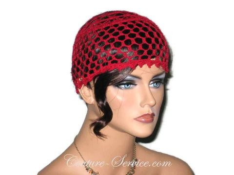 Handmade Picot Edge Lace Cloche, Red - Couture Service  - 1