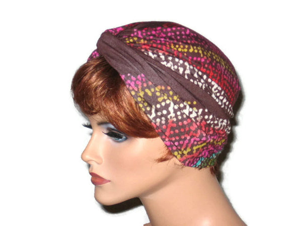 Handmade Brown Twist Turban, Abstract, Pink - Couture Service  - 2