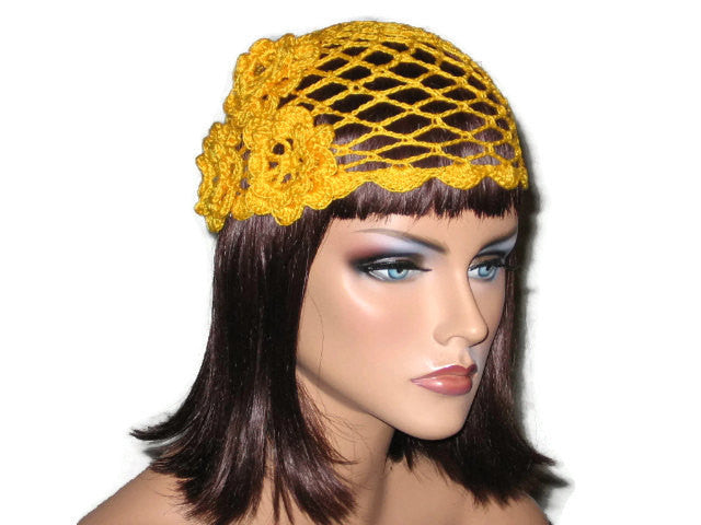 Handmade Scalloped Edge Lace Demi Cloche, Yellow - Couture Service