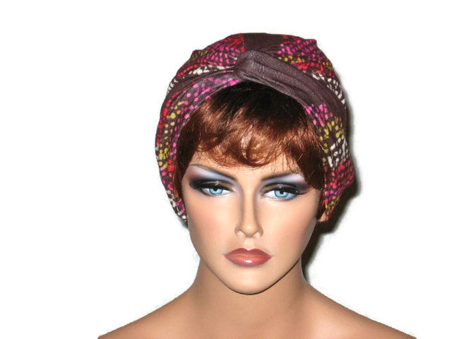 Handmade Brown Twist Turban, Abstract, Pink - Couture Service  - 1
