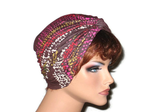 Handmade Brown Twist Turban, Abstract, Pink - Couture Service  - 4