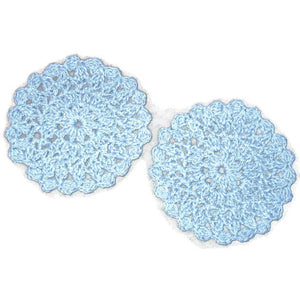 Handmade Decorative Blue Crocheted Cotton Doily Set, Denim - Couture Service  - 3