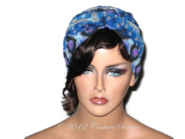 Handmade Blue Twist Turban,  Abstract, Grey - Couture Service  - 1