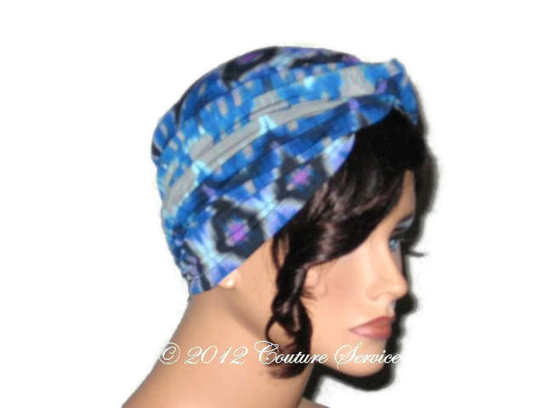 Handmade Blue Twist Turban,  Abstract, Grey - Couture Service  - 4