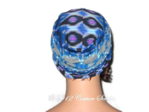 Handmade Blue Twist Turban,  Abstract, Grey - Couture Service  - 3