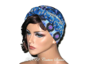 Handmade Blue Twist Turban,  Abstract, Grey - Couture Service  - 2