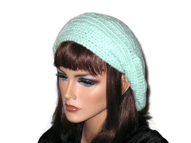 Slouch Beret Hand Crocheted -Green, Pink, Blue, Brown, or Off White - Couture Service  - 1