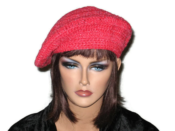 Slouch Beret Hand Crocheted -Green, Pink, Blue, Brown, or Off White - Couture Service  - 5