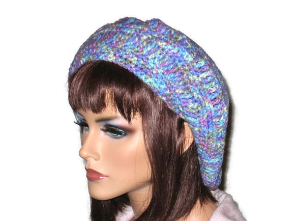 Slouch Beret Hand Crocheted -Green, Pink, Blue, Brown, or Off White - Couture Service  - 2