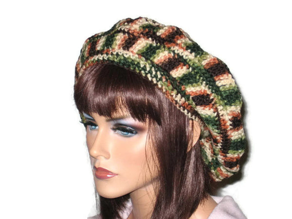 Slouch Beret Hand Crocheted -Green, Pink, Blue, Brown, or Off White - Couture Service  - 4