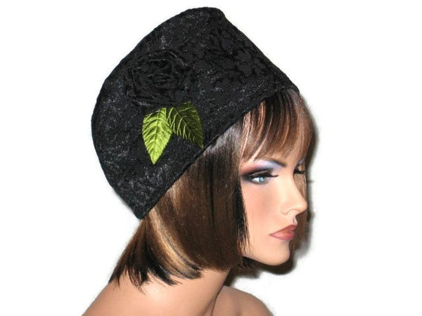 Handmade Black Lined Cloche Hat Jacquard - Couture Service  - 2