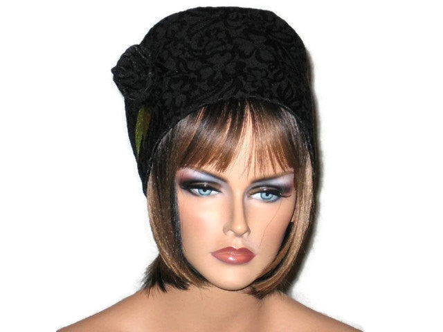 Handmade Black Lined Cloche Hat Jacquard - Couture Service  - 1