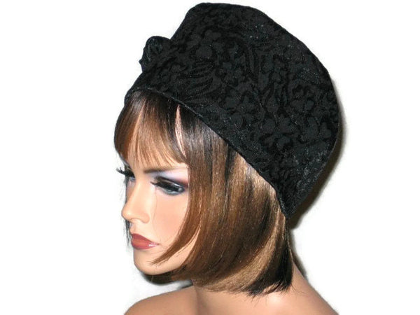 Handmade Black Lined Cloche Hat Jacquard - Couture Service  - 4