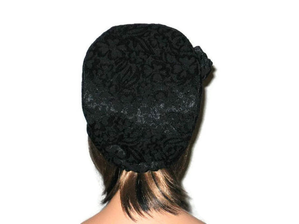 Handmade Black Lined Cloche Hat Jacquard - Couture Service  - 3