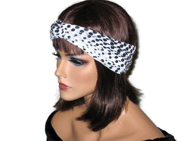 Handmade Black Bandeau Headband Turban, Polka Dot, White - Couture Service  - 2