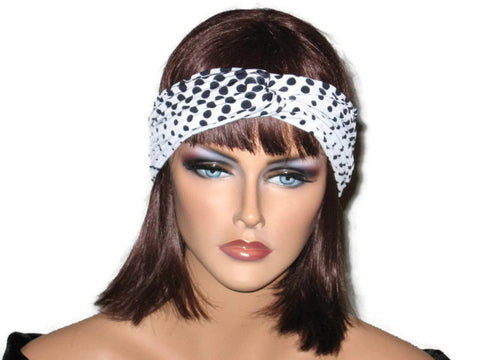 Handmade Black Bandeau Headband Turban, Polka Dot, White - Couture Service  - 1