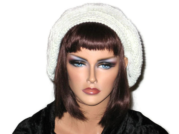 Slouch Beret Hand Crocheted -Green, Pink, Blue, Brown, or Off White - Couture Service  - 3