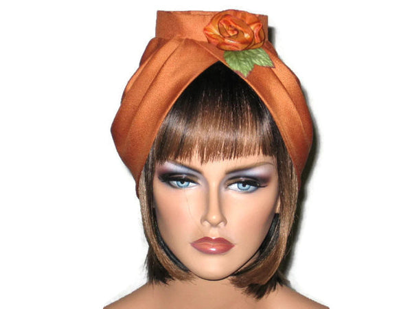 Handmade Burnt Orange Silk Turban, with Silk Floral Pin - Couture Service  - 1