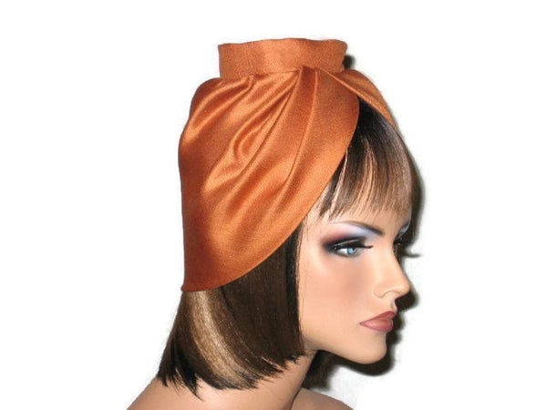 Handmade Burnt Orange Silk Turban, with Silk Floral Pin - Couture Service  - 2