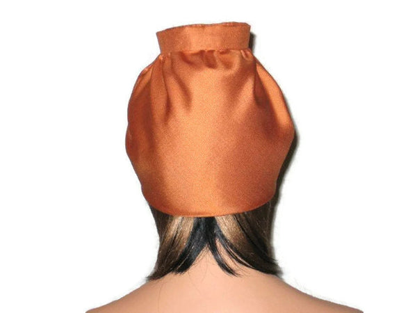 Handmade Burnt Orange Silk Turban, with Silk Floral Pin - Couture Service  - 3