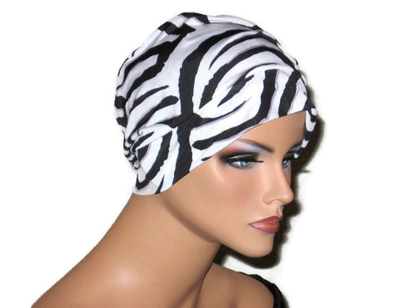 Handmade Black Chemo Turban, White, Draped, Zebra Pattern - Couture Service  - 3
