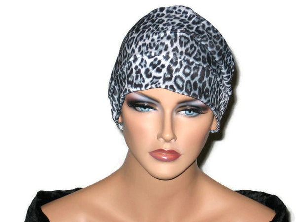 Handmade Black Draped Chemo Turban, White, Panther Print - Couture Service  - 2