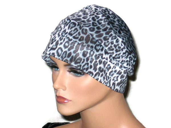 Handmade Black Draped Chemo Turban, White, Panther Print - Couture Service  - 1