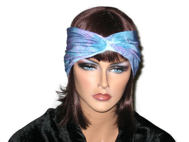 Handmade Blue Bandeau Headband Turban, Abstract, Teal - Couture Service  - 1