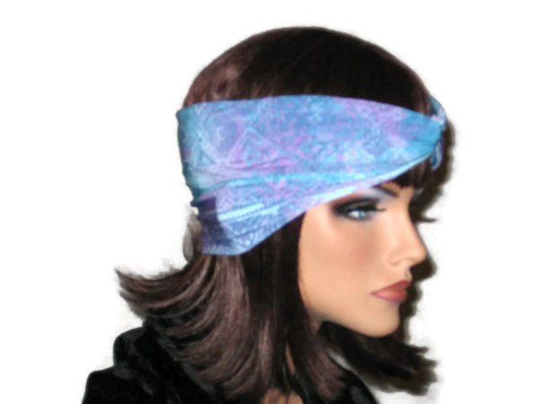 Handmade Blue Bandeau Headband Turban, Abstract, Teal - Couture Service  - 4