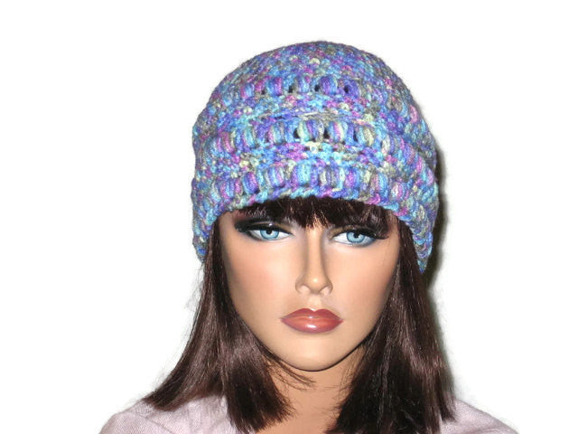 Handmade Crocheted Cloche, Blue, Pink, Green, Brown - Couture Service  - 2