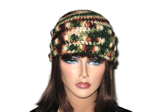Handmade Crocheted Cloche, Blue, Pink, Green, Brown - Couture Service  - 5