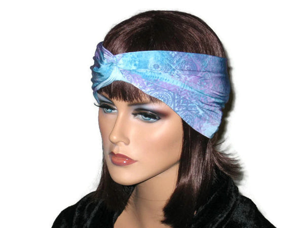Handmade Blue Bandeau Headband Turban, Abstract, Teal - Couture Service  - 2