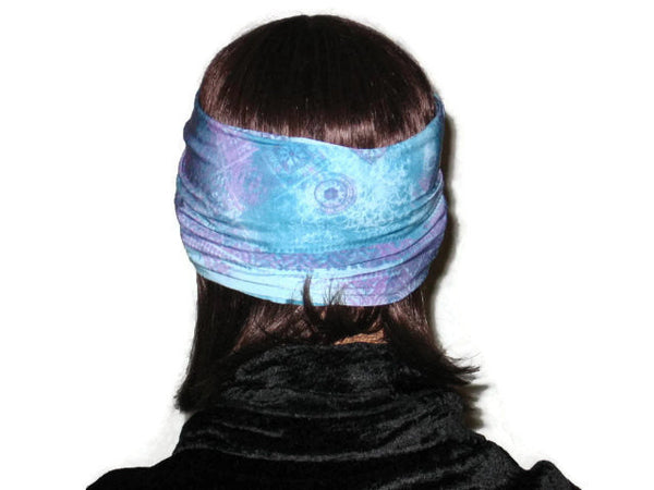 Handmade Blue Bandeau Headband Turban, Abstract, Teal - Couture Service  - 3