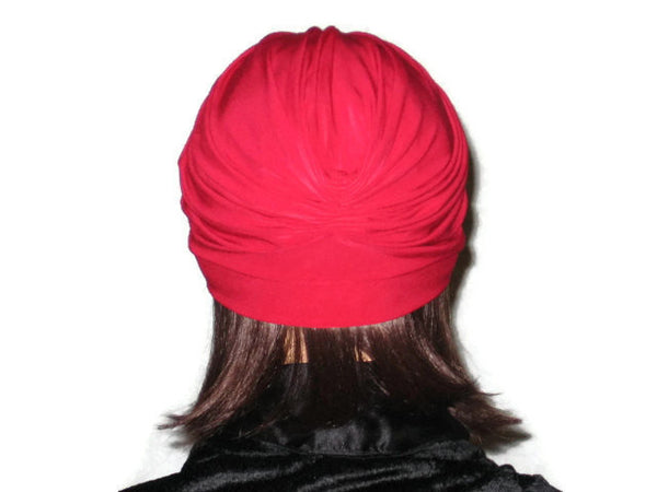 Handmade Red Banded Single Knot Turban - Couture Service  - 3