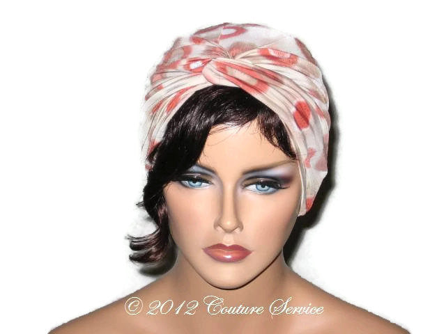 Handmade Rust Twist Turban, Abstract, Tan - Couture Service  - 1