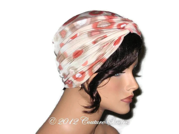 Handmade Rust Twist Turban, Abstract, Tan - Couture Service  - 4