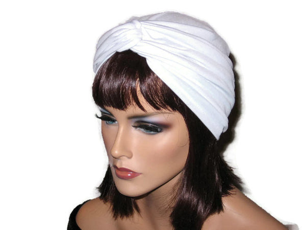 Handmade White Twist Turban, Soft Poly Lycra - Couture Service  - 1
