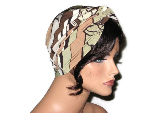 Handmade Tan Twist Turban, Abstract, Brown - Couture Service  - 4