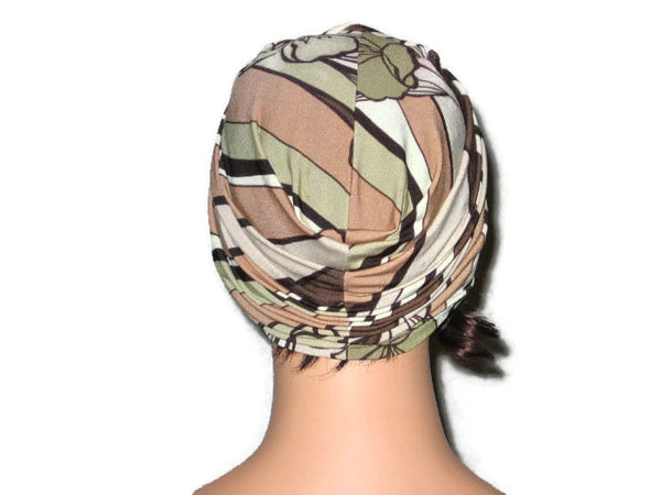Handmade Tan Twist Turban, Abstract, Brown - Couture Service  - 3