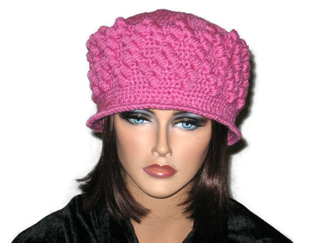 Handmade Crocheted Diamond Patterned Hat, Pink - Couture Service  - 1