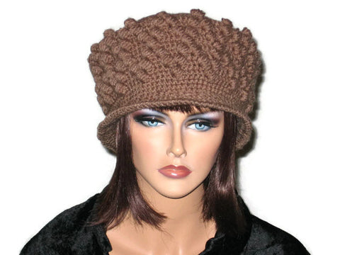 Handmade Crocheted Diamond Patterned Hat, Taupe - Couture Service  - 1