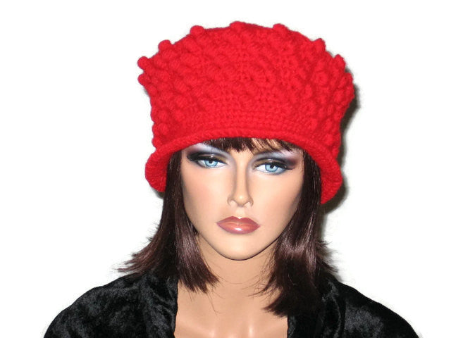Handmade Crocheted Diamond Patterned Hat, Red - Couture Service  - 1