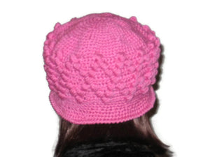 Handmade Crocheted Diamond Patterned Hat, Pink - Couture Service  - 3