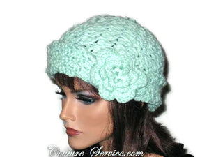 Handmade Crocheted Mint Green Cloche - Couture Service  - 2