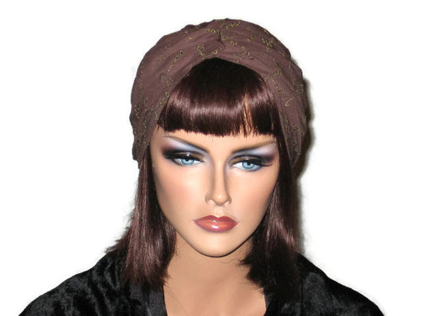 Handmade Brown Twist Turban, Embroidered Eyelet - Couture Service  - 1