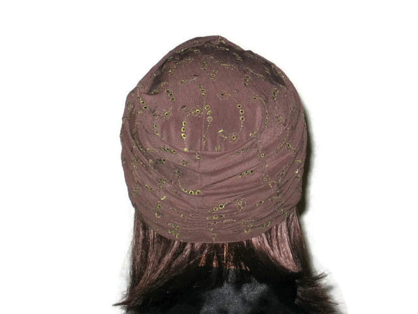 Handmade Brown Twist Turban, Embroidered Eyelet - Couture Service  - 3