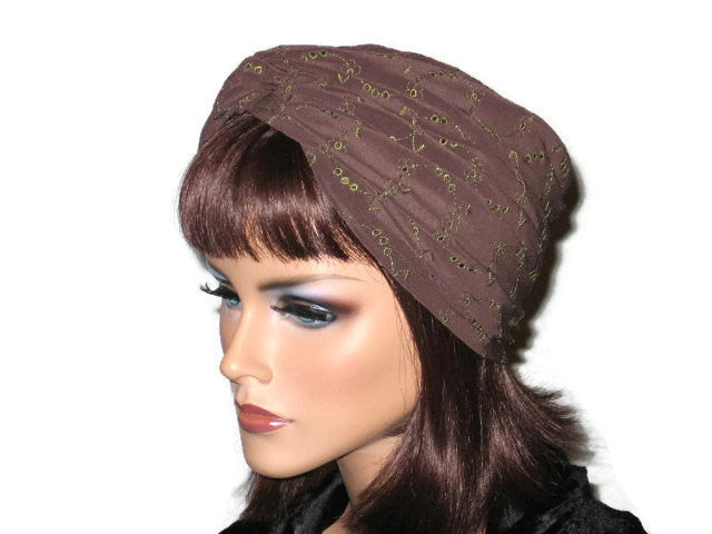 Handmade Brown Twist Turban, Embroidered Eyelet - Couture Service  - 2
