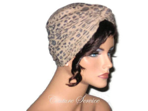 Handmade Tan Micro-Suede Twist Turban, Abstract, Navy - Couture Service  - 4