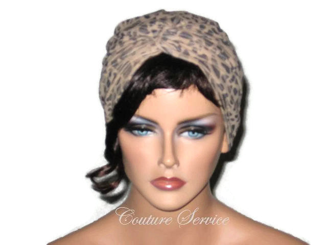 Handmade Tan Micro-Suede Twist Turban, Abstract, Navy - Couture Service  - 1